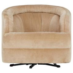 Milo Baughman Style Velvet Swivel Barrel Chair   From a unique collection of antique and modern swivel chairs at https://www.1stdibs.com/furniture/seating/swivel-chairs/