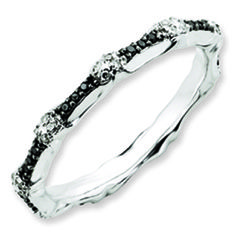 Black White Diamond Eternity Stackable White Gold over Silver Ring Available Exclusively at Gemologica.com
