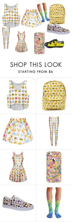 """""""EMOJI EVERYTHING"""" by kacey-lou ❤ liked on Polyvore featuring Chicnova Fashion, WithChic, Casetify and Vlado"""