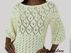 Купить Пуловер из хлопка - бежевый, молочный, пуловер вязаный, пуловер, пуловер женский, пуловер спицами
