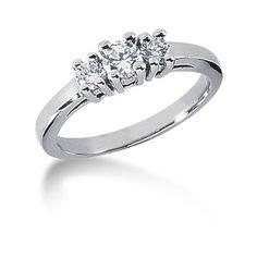 Trestensring i palladium, diamantring (0.45ct) Pris 14.600kr - Lamastone™