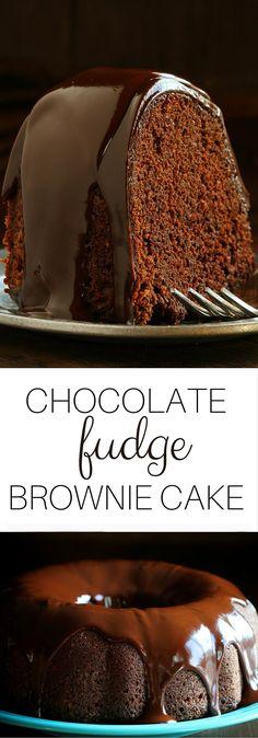 Granny's Chocolate Fudge Brownie Cake! - super simple using cake mix and brownie mix.