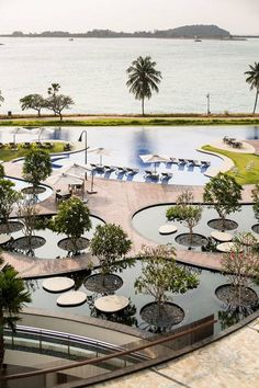 Two different water features, The Reflecting Garden and The Gigantic Pool is…