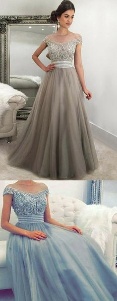 modest light grey off the shoulder long prom dresses, elegant tulle beading bodice evening gowns, unique long party dresses with beading