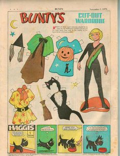 Bunty's Cut-Out Wardrobe and Haggis Literary Themes, Paper Art, Paper Crafts, Bad Drawings, Paper Dolls Printable, Vintage Paper Dolls, Childhood Toys, Retro Toys, Cool Cartoons