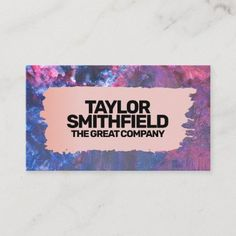 Brushed Rose Gold Space Painting Business Card Company Business Cards, Teen Shopping, Teen Art, Space Painting, Keep It Cleaner, Smudging, Paper Texture, Holiday Cards, Things To Come