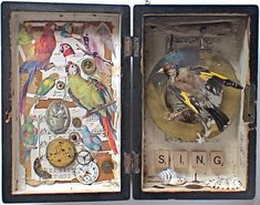 assemblage art by mike bennion - 'sing'