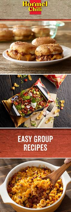 These quick and easy group recipes will bring the people of Chili Nation out of their man (or woman) caves. They'll come from far and wide for these bowls, tacos, and sliders. Make one to bring to your next tailgate or gathering!  | Chili Mac and Cheese | Walking Taco | Chili Sloppy Joe Sliders | HORMEL® Chili | Appetizers | Party | Tailgate | Easy Group Recipes | Comfort Food |