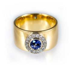Blue sapphire halo engagement ring wide yellow gold by KorusDesign