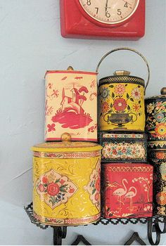 I love old tins... And jars... And boxes... Well just about any old tat really