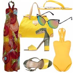 Ecco la mia proposta per la spiaggia... Dedicato a chi è già un po' abbronzato: costume giallo sole con sandali con tacco (per arrivare in spiaggia) e comode infradito da sfoderare sulla battigia... Borsa capiente sempre giallo e vestito dalla bellissima fantasia ultra estiva.