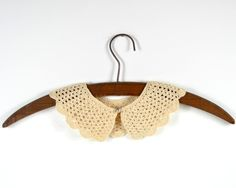 Vintage Ecru Crochet Cotton Collar!    Darling ecru crocheted collar with a faux pearl button. Dress up a sweater or simple dress with this charming