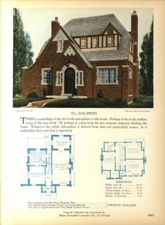 The DAUPHIN - Home Builders Catalog: plans of all types of small homes by Home Builders Catalog Co.  Published 1928