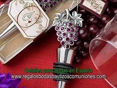 Videos regalos y obsequios para Bodas: Bálsamos, tazas, tapones de vino y espejos para regalo