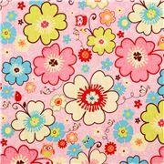 rosa Mini Eulen und Blumen Stoff Riley Blake Happy Flappers