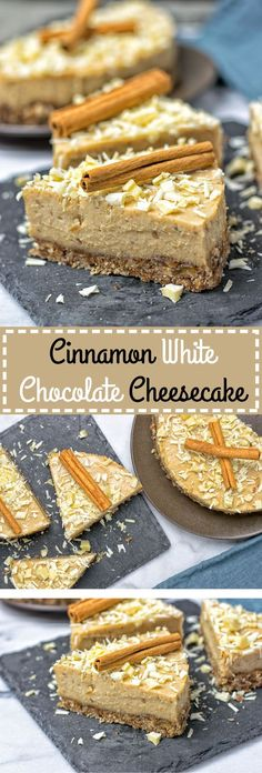 My #Cinnamon White #Chocolate #Cheesecake is a #vegan and #glutenfree no-bake #cake. Make this stunner from just 6 ingredients in 2 easy steps. #dessert #recipe