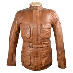 Goldtop 1970s Patrol Jacket - Hand Waxed Tan Leather 4 Pocket Motorcycle & Police Jacket
