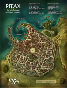 A couple more maps for Paizo. City map for Pitax, city on the Pathfinder roleplaying game located in the River Kingdoms, on the world of Golarion. The numbering and . Fantasy City Map, Fantasy World Map, Plan Ville, Pathfinder Maps, Paizo Pathfinder, Pen & Paper, Village Map, Rpg Map, Dungeon Maps