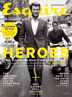 Great series of hero covers! The covers include shots of Jack Nicholson, David Bowie, Clint Eastwood, Keith Richards and Michael Caine. Magazine Cover Page, Cool Magazine, Magazine Cover Design, Editorial Layout, Editorial Design, Esquire Uk, Design Brochure, Flyer Design, Magazin Design