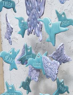 Personalized Wind Chime BUTTERFLY and HUMMINGBIRD Family Wind Chime Ceramic Stoneware Clay