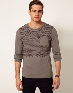 ASOS Long Sleeve T-Shirt With Aztec Print And Contrast Pocket