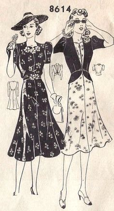 1940s Dress and Jacket Vintage Sewing Pattern