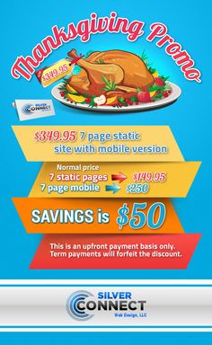 7 page STATIC WEBSITE with MOBILE VERSION for only $349.95!  Take advantage of our Thanksgiving Promo!  #thanksgiving #discount