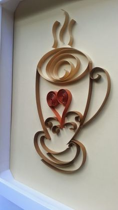 Quilled Cup of Love, Quilling with 1/4 inch strips of paper. Do you think it is coffee, tea or creamy milk chocolate?