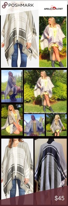 "Blanket Cape Scarf Wrap Poncho RETAIL PRICE: $68 💟 NEW WITH TAGS 💟 Boho Blanket Scarf Wrap Poncho ***BP Nordstrom Brand * An incredibly soft loose knit construction  * Allover rustic plaid print w/delicate fringe.  * Cozy fabric & a draped fit.  * About 25"" at the shortest X 55"" length; ***Tagged One size fits most. ***Reversible w/a different print on each side.  Fabric: 100% acrylic  Color: Multi Item# Blanket scarf  🚫No Trades🚫 ✅ Offers Considered*/Bundle Discounts✅ *Please use the…"