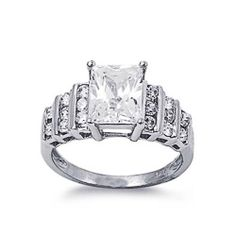 Rhodium Plated Sterling Silver Wedding & Engagement Ring Princess cut Clear CZ Ladies Ring 10MM ( Size 5 to 9) Double Accent. $26.99