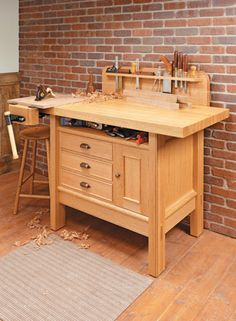 A basic, stable workbench is a must for every shop. Building this bench won't break the bank, either. Small Woodworking Projects, Woodworking Bench Plans, Woodworking Shop, Wood Plans, Wood Projects, Woodworking Classes, Woodworking Videos, Small Workbench, Portable Workbench