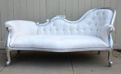 Hollywood Regency White Silver Chaise Lounge Chesterfield Sofa Loveseat Couch | eBay- Perfect for my DREAM dressing room