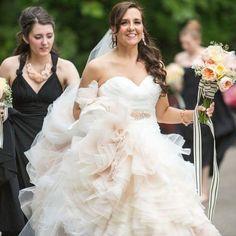 Mori Lee bride @paint_like_me_party in a sea of ombré ruffles  Love!! Blu style 5101 #morilee #morileebride #bride #bridal #bridalgown #bridesmaid #ruffles #ombre #wedding #weddingdress #weddinggown #weddingday