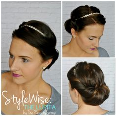 Formal hair ideas, prom hair, jeweled headband, rolled updo