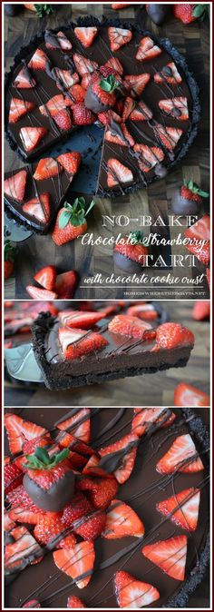 No-Bake Chocolate Strawberry Tart with Chocolate Cookie Crust! An easy and impressive splurge-worthy dessert for Valentine's Day or to satisfy your inner chocoholic! | homeiswheretheboatis.net #dessertfoodrecipes