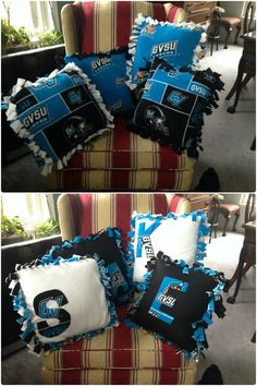 GVSU fleece tie pillows and no sew pillows. Two Grand Valley State University fleece patterns paired with solid black and white fleece and added initials (sewed on) of friends. Fabric is from Field's Fabric and insert pillows are from Joann Fabric and Craft Store.