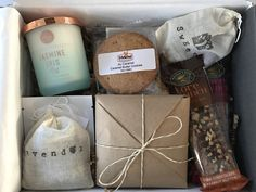 A sample of one of our March Standard Hygge Box which was filled with plenty of coziness. Each box will always include elements of light, hot drink and sweet indulgence. The contents of each box is unique and will vary month to month. Please Note: Pictures are for example purposes only, monthly contents will vary. Coziness & Happiness Delivered Across America by Shop Hygge Box.