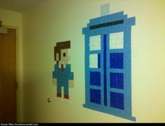 8 bit post it wall art tardis - Google Search Post It Art, Doctor Who Party, East Orange, Comic Conventions, Elementary Library, 10th Doctor, 8 Bit, Dr Who, Sticky Notes