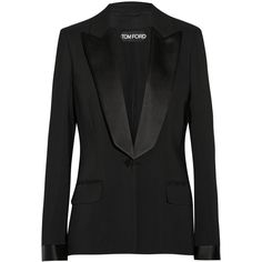Tom Ford Satin-trimmed stretch-cady tuxedo jacket (€3.090) ❤ liked on Polyvore featuring outerwear, jackets, blazers, tom ford, coats & jackets, black, tom ford jacket, stretch blazer, lapel jacket and dinner jacket