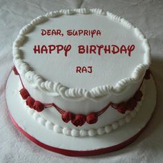 Happy Birthday Wishes Red Rose Cake With Your Name