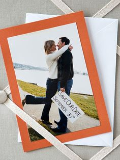 love the whimsy and romance captured in this photo save the date. The picture tells all your guests the important details- you're in love, you're getting married, and you want them to be there.