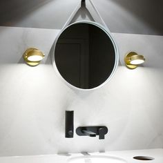 Two Gold Monocle Wall Lights Designed By RBW Look Stunning As Bathroom  Vanity Lights