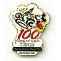 Pin 7040 WDW - Share A Dream Come True Annual Passholder Pin #1 (Disney MGM Studios 100 Years of Magic) Origin:Walt Disney World Limited Edition:No SKU Number:4 00109 70310 7 Original Price:$10.50 Released:October 1, 2001