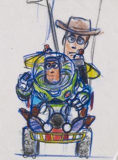 Toy Story, considerado el film que irrumpió en la industria con sus novedosas técnicas de animación digital, tuvo el mismo origen: los tradicionales bocetos.