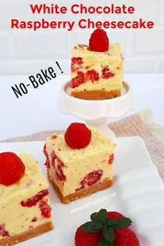 No-bake desserts are always a winner ! White Chocolate Raspberry Cheesecake is a mix, chill and enjoy dessert. Quick, easy, delicously smooth and refreshing with fresh raspberries