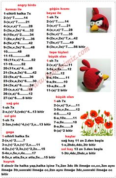 angry birds (red) - Models with description - - Knitted Doll Patterns, Bird Patterns, Crochet Doll Pattern, Amigurumi Patterns, Crochet Dolls, Romper Pattern, Crochet Animal Amigurumi, Crochet Gratis