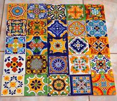 25 azulejos mexicanos. Pintados a mano 4x4 por MexicanTiles en Etsy, $45.00