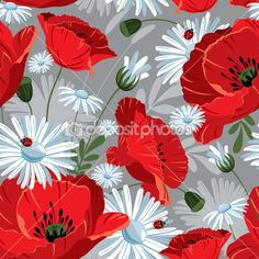 excellent seamless pattern with with poppies and daisies on gray background Tapestry Wallpaper, Decopage, Poppy Pattern, Vector Flowers, Glitter Graphics, Vintage Colors, Vintage Floral, Pattern Mixing, Textured Background