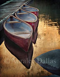 Canoe Photo Red Canoe Landscape Photo Water by AuraleeDallas, $12.00