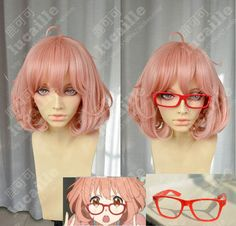 $15.00 (Buy here: https://alitems.com/g/1e8d114494ebda23ff8b16525dc3e8/?i=5&ulp=https%3A%2F%2Fwww.aliexpress.com%2Fitem%2FBig-glasses-roll-fluffy-pear-high-temperature-wire-cos-wig%2F1621318210.html ) SUNCOS kyokai no kanata Kuriyama Mirai high temperature wire 30cm  pink short cosplay wig anime red glasses free shipping+Cap for just $15.00
